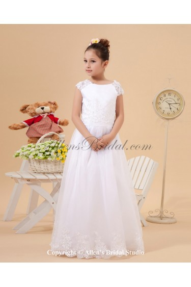 Satin and Lace Jewel Neckline Floor Length A-Line Flower Girl Dress