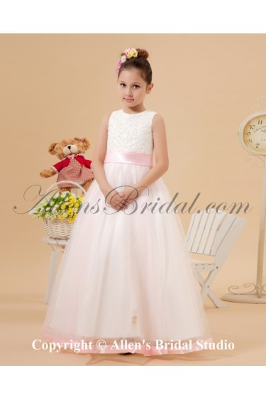 Organza Jewel Neckline Ankle-Length A-Line Flower Girl Dress with Embroidered