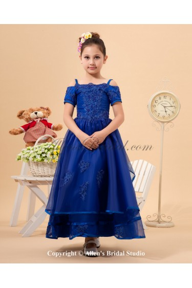 Organza Straps Neckline Ankle-Length A-line Flower Girl Dress with Embroidered and Short Sleeves