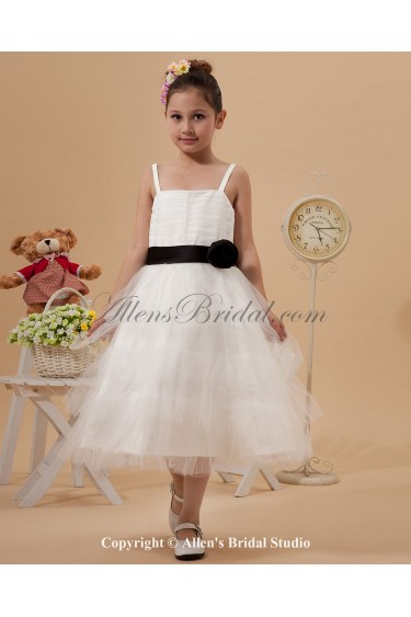 Satin and Mesh Straps Neckline Tea-Length A-line Flower Girl Dress with Hand-made Flower