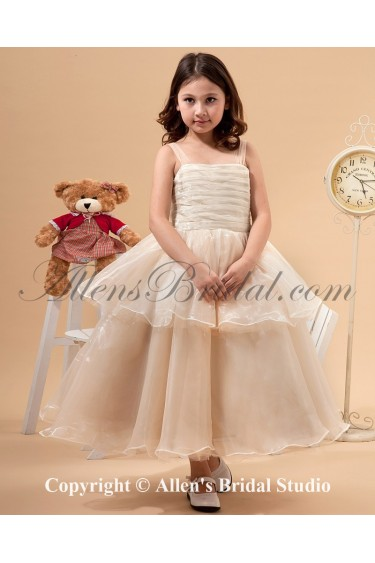 Tulle Straps Neckline Tea-Length Ball Gown Flower Girl Dress with Bow
