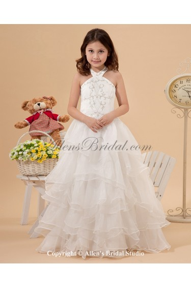 Satin and Organza Halter Neckline Floor Length Ball Gown Flower Girl Dress with Embroidered and Ruffle