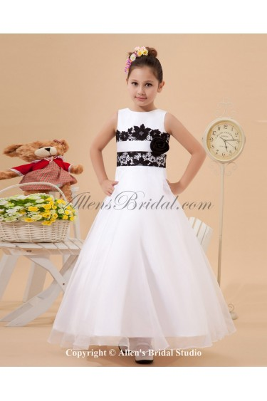 Satin and Tulle Jewel Neckline Ankle-Length Ball Gown Flower Girl Dress