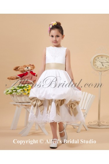 Satin and Lace Jewel Neckline Tea-Length Ball Gown Flower Girl Dress with Bow