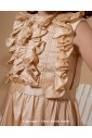 Taffeta Jewel Neckline Ankle-Length Column Flower Girl Dress with Ruffle