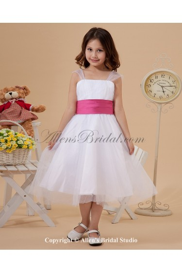 Organza Straps Neckline Knee-Length Ball Gown Flower Girl Dress with Ruffle