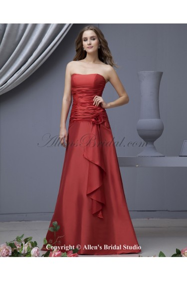Satin Strapless Neckline Floor Length A-line Bridesmaid Dress with Hand-made Flower