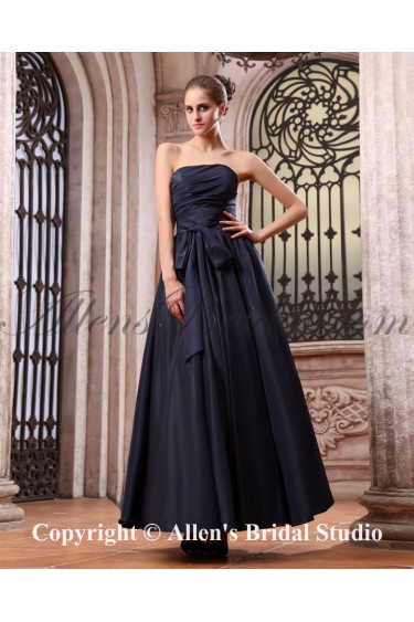 Taffeta Strapless Ankle-Length A-line Bridesmaid Dress with Ruffle