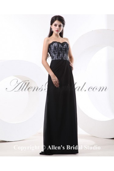Chiffon Sweetheart Floor Length Column Bridesmaid Dress with Lace