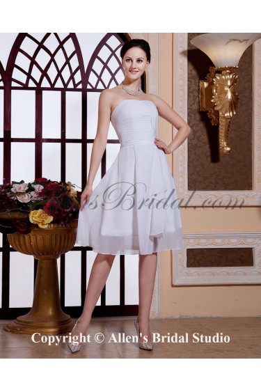Chiffon Strapless Knee-Length A-line Bridesmaid Dress with Ruffle