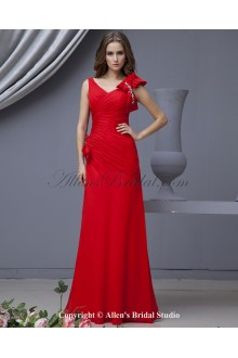 Chiffon V-Neck Floor Length A-line Bridesmaid Dress with Bowtie