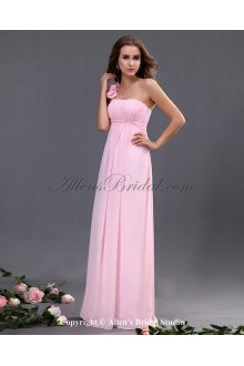 Chiffon One-Shoulder Floor Length A-line Bridesmaid Dresss