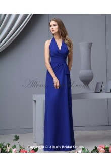 Chiffon Halter Neckline Floor Length A-line Bridesmaid Dress with Pleated
