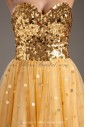 Net and Satin Sweetheart Neckline A-line Sweep Train Sequins Prom Dress