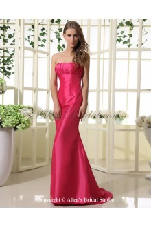 Taffeta Scoop Neckline Sweep Train Sheath Bridesmaid Dress with