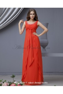 Chiffon Scoop Neckline Floor Length Empire Line Bridesmaid Dress