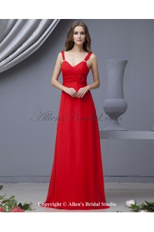Chiffon V-Neck Floor Length Empire Bridesmaid Dress