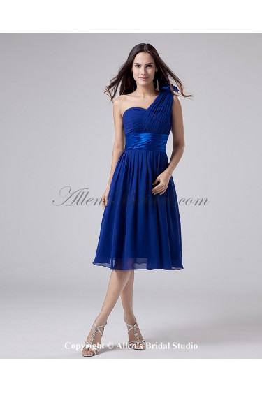 Chiffon One-Shoulder Knee-Length A-Line Bridesmaid Dress with Ruffle and Sash