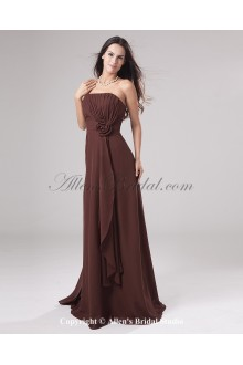 Chiffon Strapless Floor Length Empire Bridesmaid Dress with Hand-made Flower