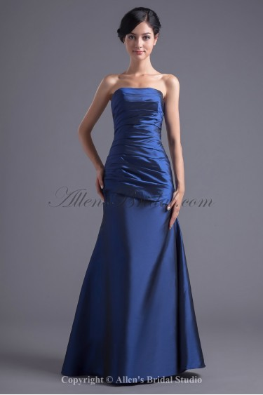 Taffeta Straless Neckline A-line Floor Length Directionally Ruched Prom Dress