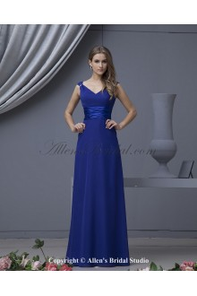 Chiffon V-Neck Floor Length A-line Bridesmaid Dress with Beaded