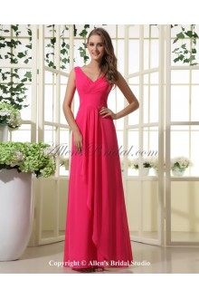 Chiffon V-Neck Floor Length A-line Bridesmaid Dress with