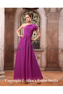 Chiffon One-Shoulder Ankle-Length A-line Bridesmaid Dress with