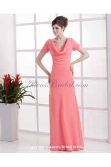 Chiffon V-Neck Floor Length Column Bridesmaid Dress with Short Sleeves