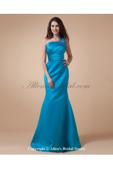 Charmeuse One-Shoulder Floor Length Mermaid Bridesmaid Dress with Ruffle