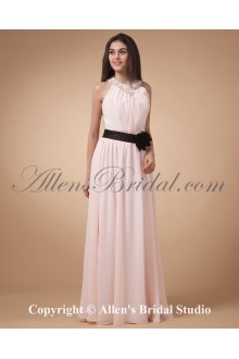 Chiffon Jewel Neckline Floor Length Column Bridesmaid Dress with Hand-made Flower