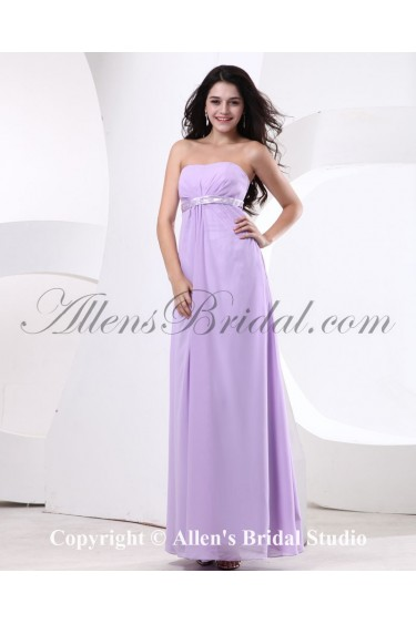 Chiffon Strapless Floor Length Column Bridesmaid Dress with Beading
