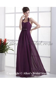 Chiffon Shoulder Straps Neckline Floor Length Column Bridesmaid Dress with Ruffle