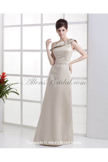 Satin One-Shoulder Floor Length A-line Bridesmaid Dress with Ruffle