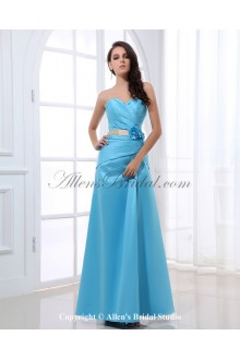 Satin Sweetheart Ankle-Length A-line Bridesmaid Dress with Flower and Pleated