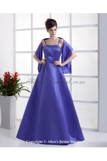 Satin Spaghetti Straps Neckline Floor Length Ball Gown Bridesmaid Dress with Embroidered