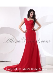 Chiffon One-Shoulder Chapel Train Sheath Bridesmaid Dress with Ruffle