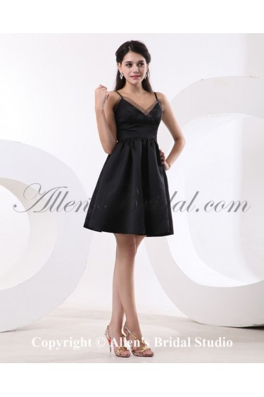 Satin and Organza V-Neck Short A-line Bridesmaid Dress with Pleat