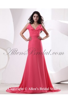 Chiffon Spaghetti Straps Neckline Sweep Train A-line Bridesmaid Dress with Pleat