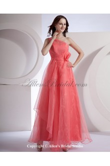 Chiffon One-Shoulder Ankle-Length Empire Bridesmaid Dress with Hand-made Flower