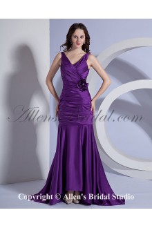 Taffeta V-Neck Sweep Train Sheath Bridesmaid Dress with Hand-made Flower