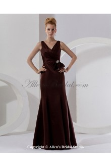 Satin V-Neck Floor Length Sheath Bridesmaid Dress with Ruffle and Flowers