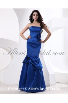 Satin Strapless Floor Length Sheath Bridesmaid Dress with Drape and Handmade Flower