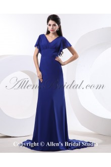 Chiffon V-Neck Chapel Train A-line Bridesmaid Dress with Pleat
