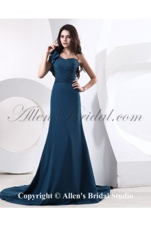 Satin and Tulle One-Shoulder Chapel Train A-line Bridesmaid Dress with Manual Flowers