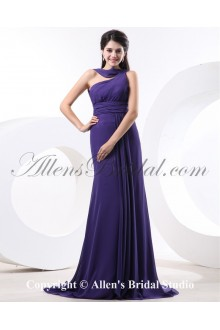 Chiffon One-Shoulder Sweep Train Corset Bridesmaid Dress with Pleat