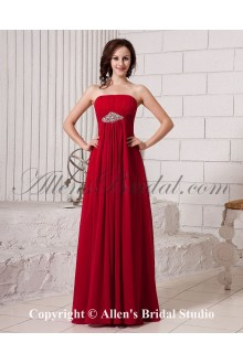 Chiffon Strapless Floor Length Empire Line Bridesmaid Dress with Ruffle