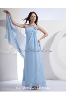 Satin and Chiffon Strapless Ankle-Length Empire Bridesmaid Dress with Handmade Flower
