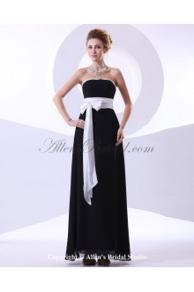 Chiffon Strapless Ankle-Length Column Bridesmaid Dress with Sash