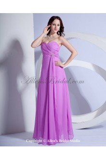 Chiffon Sweetheart Floor Length Column Bridesmaid Dress with Ruffle