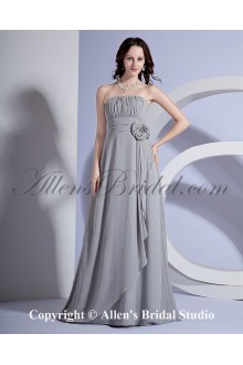 Chiffon Strapless Sweep Train A-line Bridesmaid Dresss